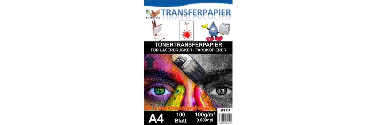 A4 Universal Tonertransferpapier - 100 Blatt für dunkle Textilien - A4 Universal Tonertransferpapier - 100 Blatt für dunkle Textilien