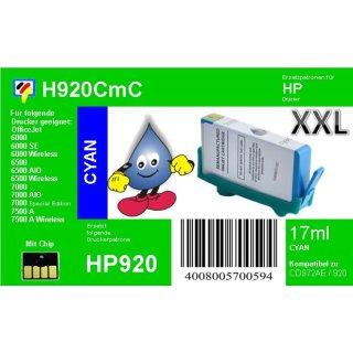 HP920CXL - TiDis XL Ersatzpatrone - cyan - mit 17ml Inhalt ersetzt CD972AE
