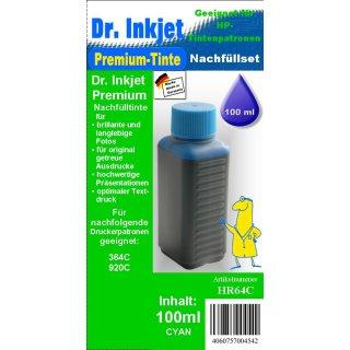 HR64C - cyan - Dr.Inkjet Premium Nachfülltinte in 100ml - 250ml - 500ml - 1000ml Abfüllungen für Ihren HP Drucker