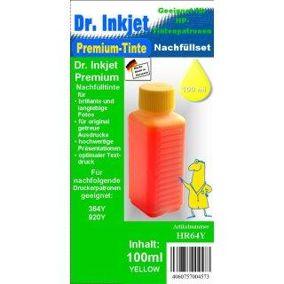 HR64Y - yellow - Dr.Inkjet Premium Nachfülltinte in 100ml - 250ml - 500ml - 1000ml Abfüllungen für Ihren HP Drucker