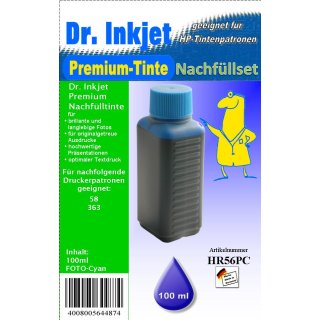 HR56PC - lightcyan - Dr.Inkjet Premium Nachfülltinte in 100ml - 250ml - 500ml - 1000ml Abfüllungen für Ihren HP Drucker
