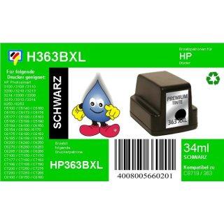 HP363BK - TiDis Ersatzpatrone für C8719EE - schwarz -  mit 34ml Inhalt/ersetzen HP363 Druckerpatronen