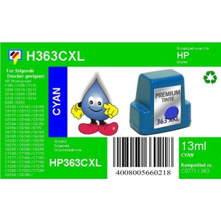 HP363C - TiDis Ersatzpatrone für C8771EE - cyan -  mit 13ml Inhalt/ersetzen HP363 Druckerpatronen