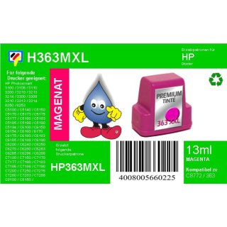 HP363M - TiDis Ersatzpatrone für C8772EE - magenta -  mit 13ml Inhalt/ersetzen HP363 Druckerpatronen