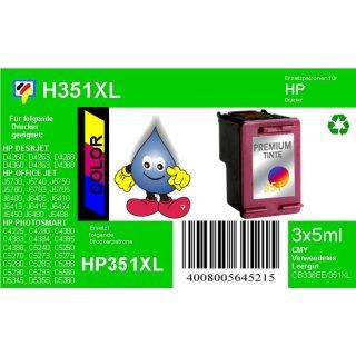 HP351XL - TiDis Ersatzpatrone für CB338EE - color -  mit 3x5ml Inhalt