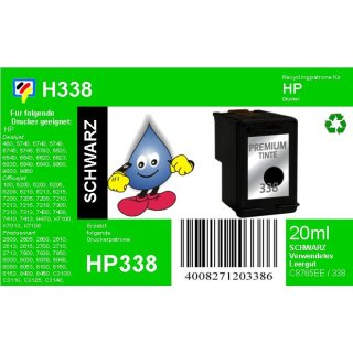 HP338 - TiDis Ersatzpatrone für C8765EE - schwarz -  mit 22ml Inhalt