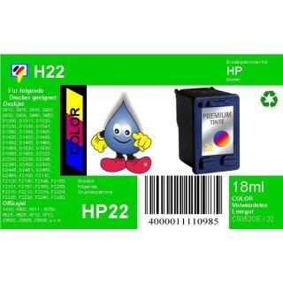 HP22 - TiDis Recyclingpatrone für C9352CE - color -  mit 18ml Inhalt