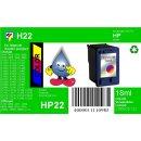 HP22 - TiDis Recyclingpatrone für C9352CE - color -...