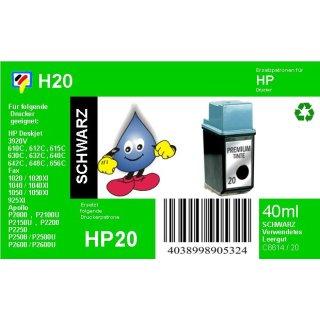 HP20 - TiDis Recyclingpatrone für C6614DE - schwarz -  mit 28ml Inhalt
