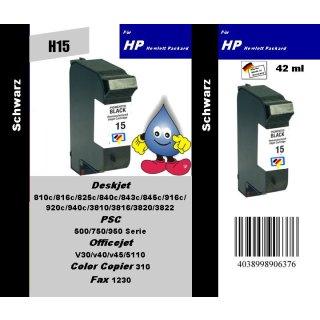 HP15 - TiDis Recyclingpatrone für C6615DE - schwarz -  mit 42ml Inhalt / HP15