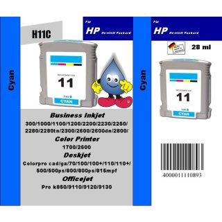 HP11C - TiDis Recyclingpatrone für C4836AE - cyan-  mit 28ml Inhalt