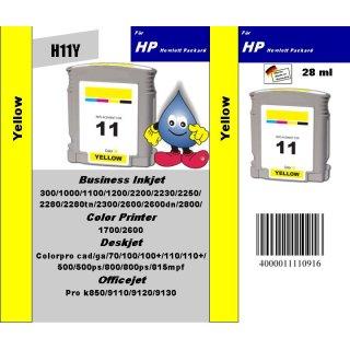 H11Y - TiDis Recyclingpatrone für C4838AE - yellow -  mit 28ml Inhalt