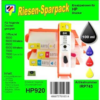 IRP743 - H920er CISS/Easyrefill Starterpack mit 250ml Dr.Inkjet Druckertinte