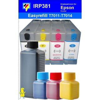 IRP381 - 4 CISS / Easyrefillpatronen für T7011-T7014 / T7021 - T7024 / T7031 - T7034 mit Autoresettchips + 250ml Dr.Inkjet Premium Nachfülltinte