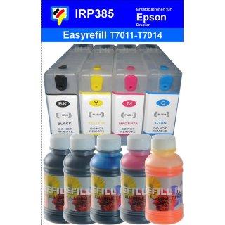 IRP384 - 4 CISS / Easyrefillpatronen für T7011-T7014 / T7021 - T7024 / T7031 - T7034 mit Autoresettchips + 500ml Universal Nachfülltinte