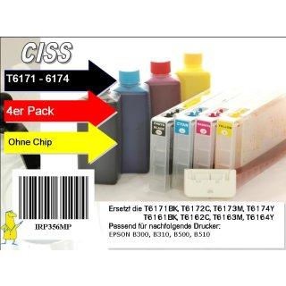 IRP356MP - Easyrefillpatronen Komplettset für T6161-T6164 + 6171 - 6181 inkl. Chipresetter + 400ml Pigmentierte Nachfülltinte