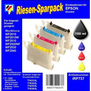 IRP737 - Starterpack CISS / Easyrefill T16 + T16XL Multipack mit 4 Patronen und 250ml Dr.Inkjet Premium Nachfülltinte