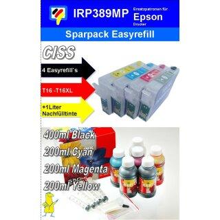 IRP389MP - Komplettset CISS / Easyrefillpatronen ersetzen T16 + T16XL - Multipack mit 4 Patronen und 1.000 ml Universal Nachfülltinte