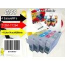 IRP380MP - Komplettset CISS / Easyrefill T1291-T1294 Multipack mit 4 Patronen und 1.000 ml Universal Nachfülltinte