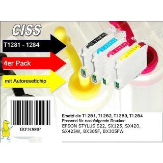 T1281-1284 Multipack mit 4 Patronen - IRP318MP - CISS / Easyrefill / Leerpatronen