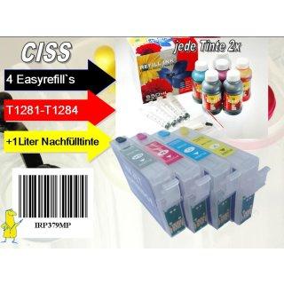 IRP379MP - Komplettset CISS / Easyrefill T1281-T1284 Multipack mit 4 Patronen und 1.000 ml Universal Nachfülltinte