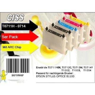 T0711H-T0714 Multipack mit 5 Patronen - IRP358MP - CISS / Easyrefill / Leerpatronen für B1100