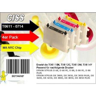 T0611-T0614 Multipack mit 4 Patronen IRP306MP - CISS / Easyrefill / Leerpatronen