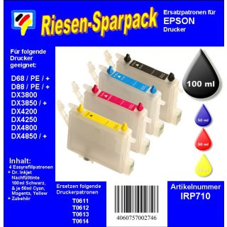 IRP710 - Komplettset CISS / Easyrefill T0611-T0614  Multipack mit 4 Patronen und 250ml Dr.Inkjet Premium Nachfülltinte