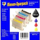 IRP713 - Komplettset CISS / Easyrefill T0551-T0554  Multipack mit 4 Patronen und 250ml Dr.Inkjet Premium Nachfülltinte