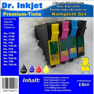 ER60 - Dr. Inkjet Komplett 250ml Set Premium Pigmentierte Nachfülltinte - Alles drin Packung -