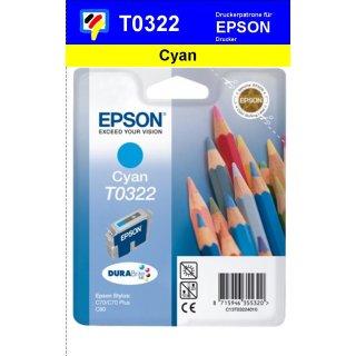 T032240 -cyan- Epson Original Druckerpatrone mit 16ml Inhalt -C13T03224010-
