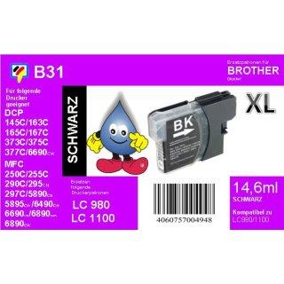 LC1100HYBK / 980 Ersatzdruckerpatrone black mit 900 Seiten Druckleistung nach ISO/24711 für Brother DCP6690CW, MFC5890CN, MFC6490CW, MFC6890CDW