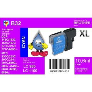 LC1100HYC / LC980 Ersatzdruckerpatrone cyan mit 750 Seiten Druckleistung nach ISO/24711 für Brother DCP6690CW, MFC5890CN, MFC6490CW, MFC6890CDW