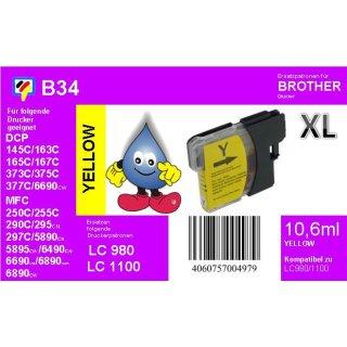 LC-1100HYY / LC980 Ersatzdruckerpatrone yellow mit 750 Seiten Druckleistung nach ISO/24711 für Brother DCP6690CW, MFC5890CN, MFC6490CW, MFC6890CDW