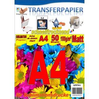 A4 Sublimationspapier: Sublinova Transferpapier für Textilien und Feststoffe - 50 Blatt Packung