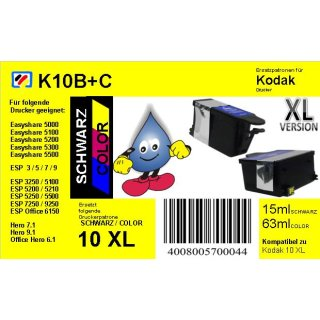 Kodak10B + C - schwarz & color - TiDis Ersatzpatronen Multipack mit 15ml (BK) und 63ml (Col.) Inhalt