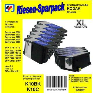 Kodak 10 - TiDis Ersatzpatronen Riesensparpack mit 10 Patronen - 6x schwarz / 4x color -