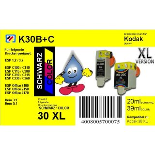 Kodak30BKXL TiDis Multipack mit 2 Ersatzpatronen