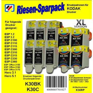 Kodak30 - TiDis Ersatzpatronen Riesensparpack mit 10 Patronen - 6x schwarz / 4x color -