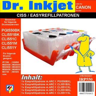 CISS / Easyrefillpatronen für PGI550 & CLI551er | 5er Multipack - ohne Tinte -