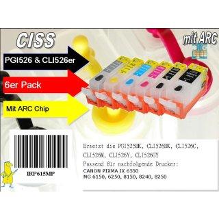 CISS / Easyrefillpatronen für PGI525 & CLI526er (6er) Multipack inkl. Graupatrone