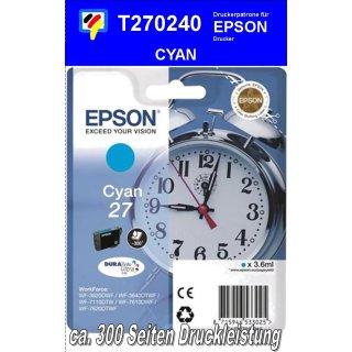 T270240 - cyan - Epson Druckerpatrone mit 3,6ml Inhalt für 300 Seiten Druckleistung - Durabrite Ultra