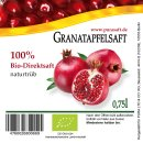 Bio Granatapfelsaft 12x 0,75 Liter Flaschen -...