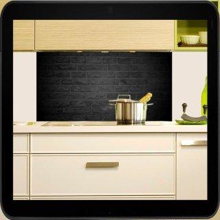 Herd Spritzschutz spritzschutz für die küche motiv schwarze backsteine