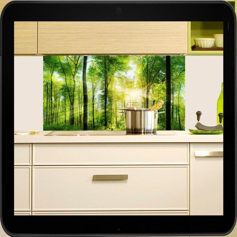 spritzschutz f r die k che motiv waldpanorama. Black Bedroom Furniture Sets. Home Design Ideas