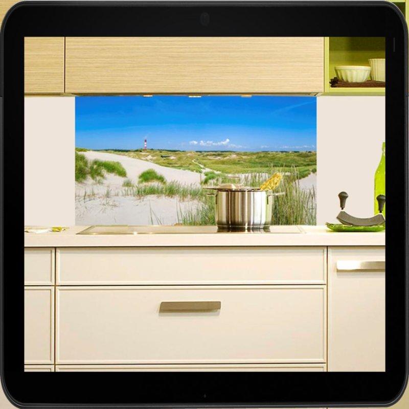 spritzschutz f r die k che motiv nordsee strand. Black Bedroom Furniture Sets. Home Design Ideas