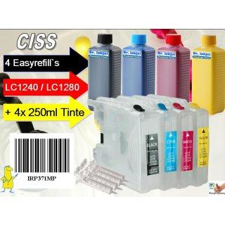 CISS Sparpack: Easyrefills + 4x250ml Nachfülltinte für LC1220/ LC1240/ LC1280