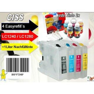 CISS Sparpack II: Easyrefills+1000ml Nachfülltinte für LC1220/ LC1240/ LC1280