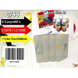 CISS Sparpack II: Dr.Inkjet Easyrefillpatronen für LC-1000 / LC-970 + 1000ml Nachfülltinte!