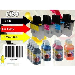 Supersparset: CISS Dr.Inkjet Easyrefillpatronen für LC-900 + 1000ml Nachfülltinte